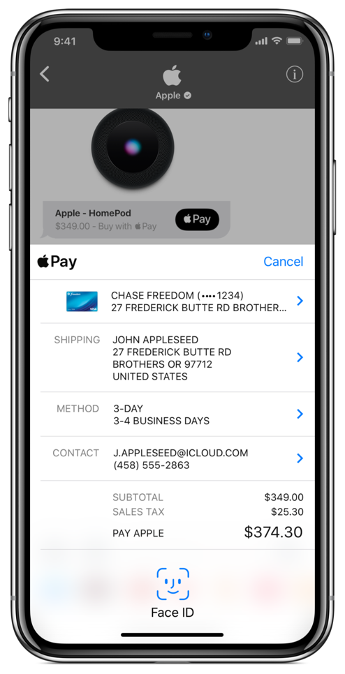 A screenshot of the Apple Pay interactive message, as displayed on iPhone.