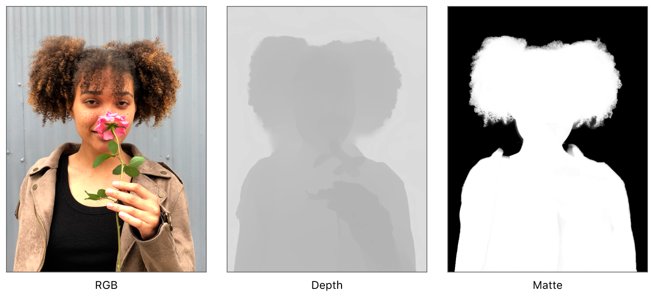 Juxtaposition of the depth map and portrait effects matte of a photo showing a girl holding a flower.