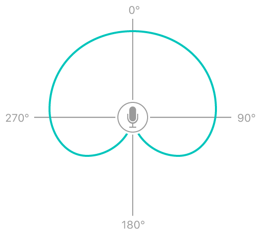 The cardioid pattern picks up sound from the direction of the data source.