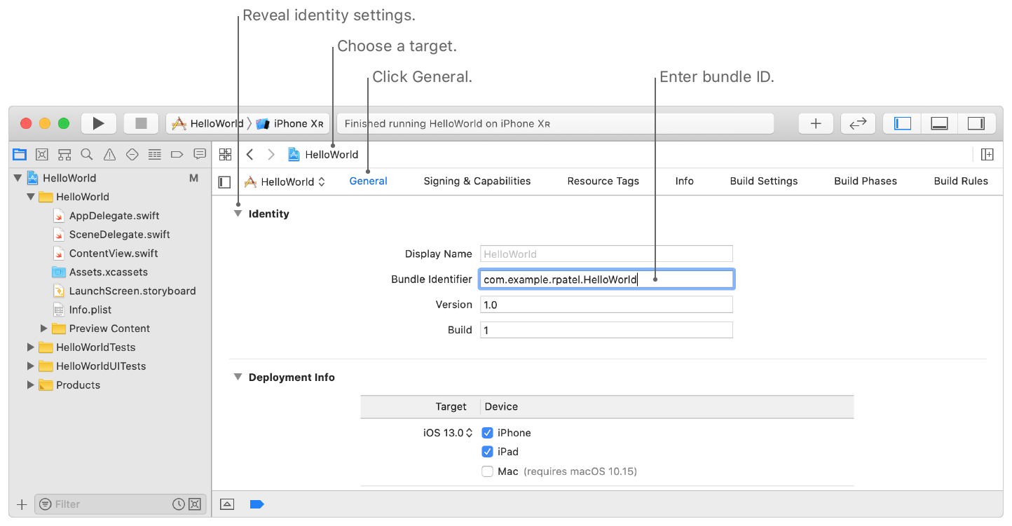 Screenshot showing the bundle ID field on the General pane. The image shows where you choose a target, click General, and reveal the Identity settings.