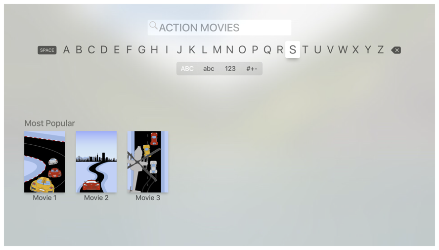 Screenshot showing a search field at the top of the screen and three movies at the bottom.