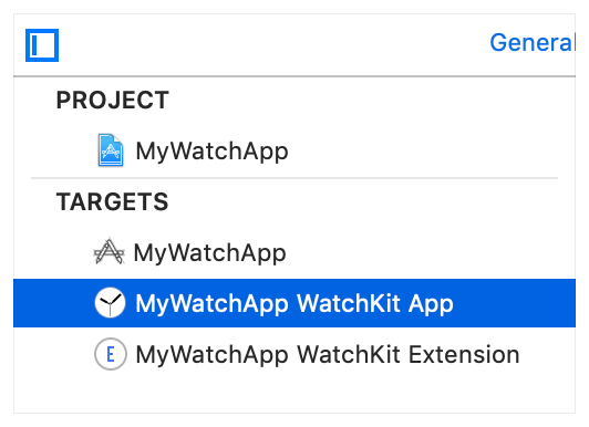Screenshot showing the targets in the Project editor, with the WatchKit App selected.