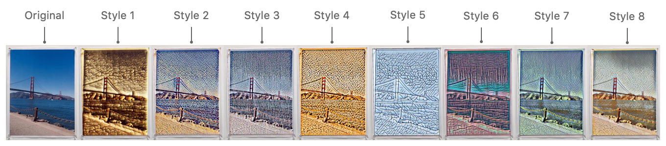 Figure that shows screenshots of each of the 8 different artistic styles applied to a recognized image. At left, the original is shown with no style applied.