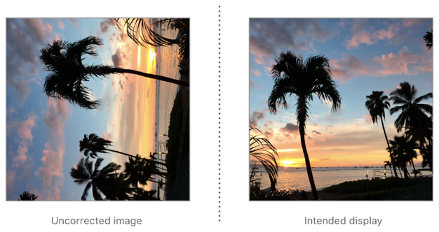To correct an image with leftMirrored orientation for display, rotate it 90° clockwise then flip it horizontally.