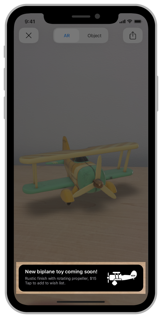 Screenshot of an AR experience that features a banner that AR Quick Look renders with your custom HTML file.