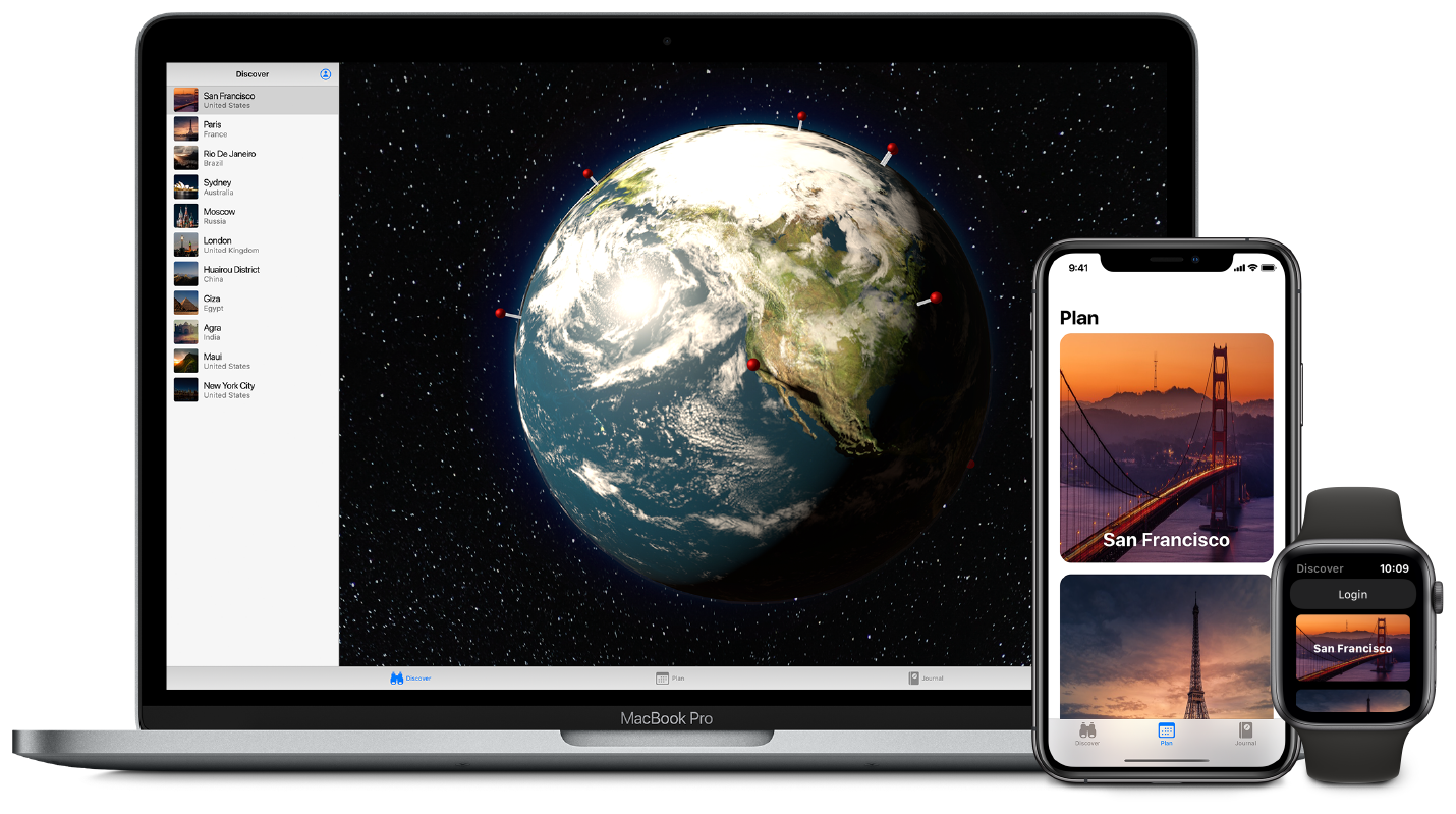 An image showing an app built using SwiftUI running on the Mac, iPhone, and Apple Watch.