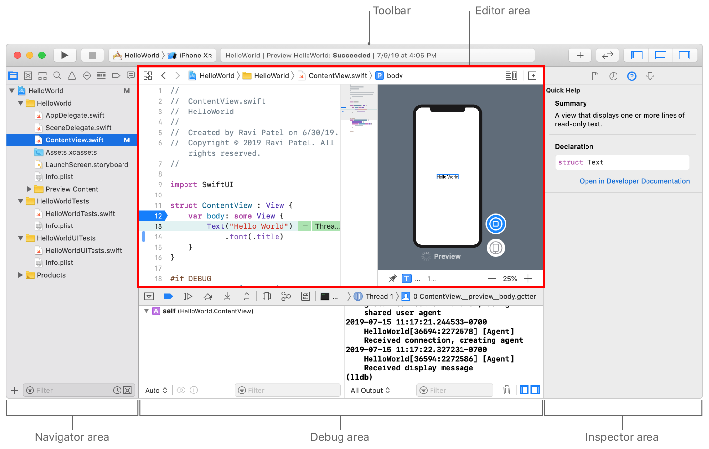 Screenshot showing the location of the main window areas: the toolbar at the top, navigator area on the left, editor area to the right, debug area below, and inspector area on the right.
