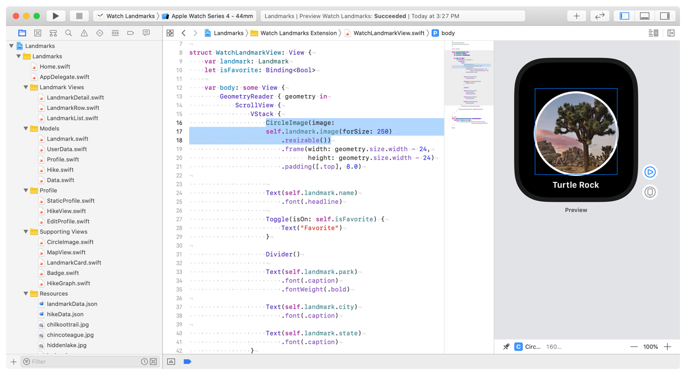 A screenshot showing Xcode with the circle image selected in the preview.