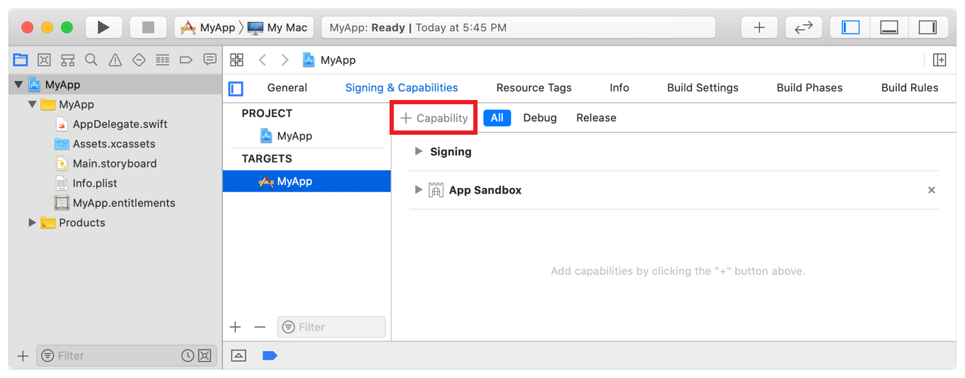 Screenshot highlighting where to click to add a new capability in Xcode's Signing & Capabilities tab.
