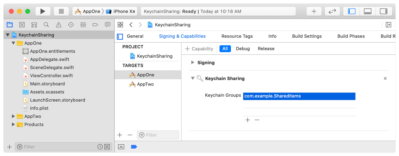 Screenshot showing the keychain sharing item in Xcode's Signing and Capabilities tab, with a single keychain group called com.example.SharedItems.