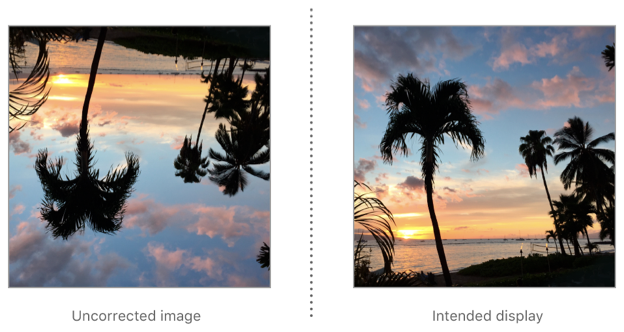 To correct an image with downMirrored orientation for display, flip it vertically.
