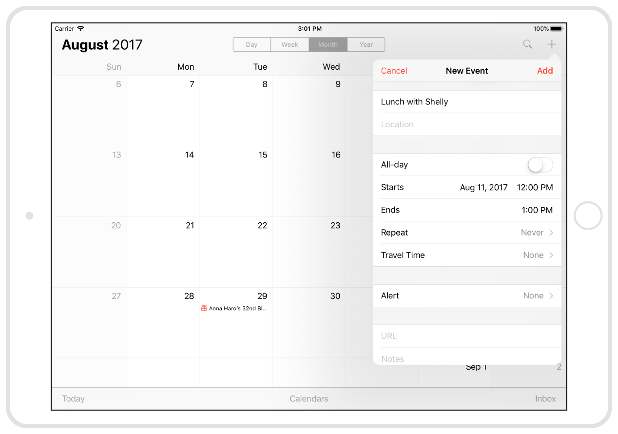 Calendar uses a popover to display the interface for creating new events.
