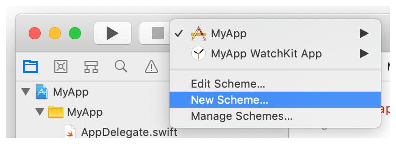 A screenshot showing the New Scheme menu item.