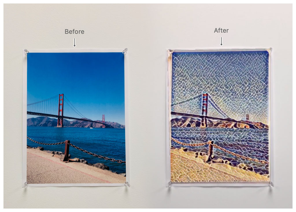Screenshot of the app in use. In the center of the user's view, there's a wall art picture being augmented with a stylistic image processing filter.