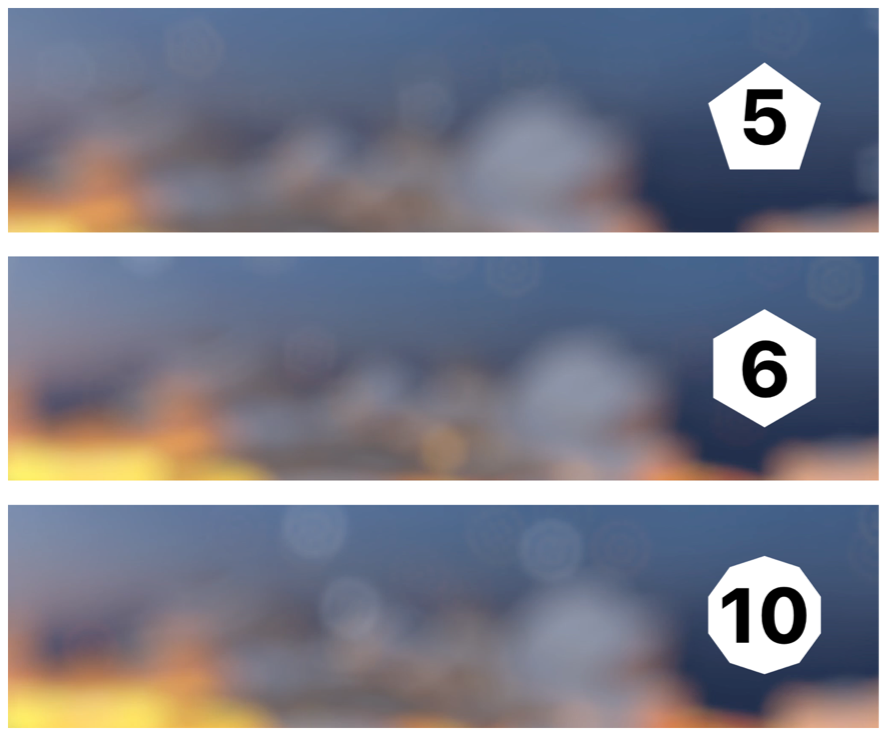 Screenshots showing aperture blade count settings of 5, 6, and 10, resulting in differently-shaped blur effects for distant point lights.