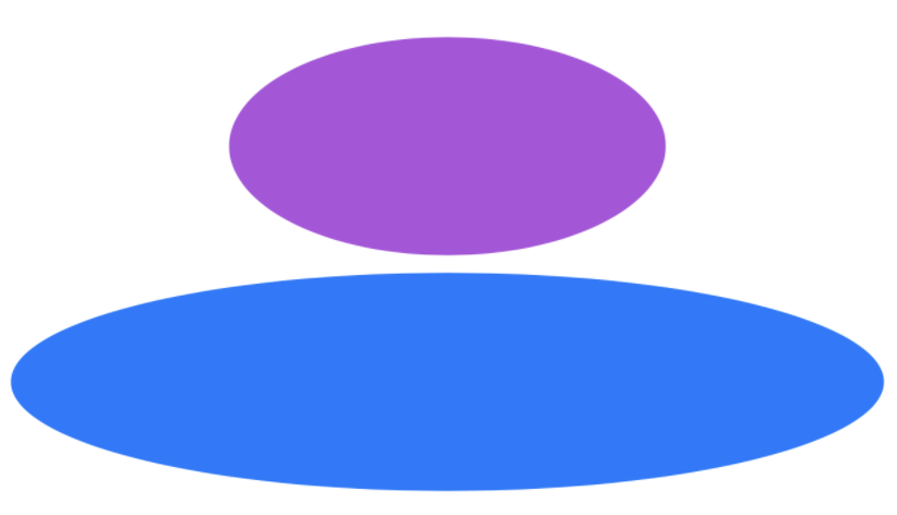 A screenshot showing the effect of frame size options: a purple ellipse shows the effect of a fixed frame size, while a blue ellipse shows the effect of constraining a view in one dimension.