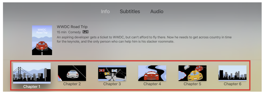 Apple TV Info panel showing chapter markers along the bottom of the panel.