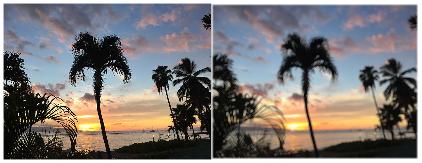 Two photographs of a beach at sunset with multiple palm trees. The photo on the left is clear and crisp. In the photo on the right, a bokeh blur filter has been applied and the image is softer and looks slightly fuzzy or hazy.