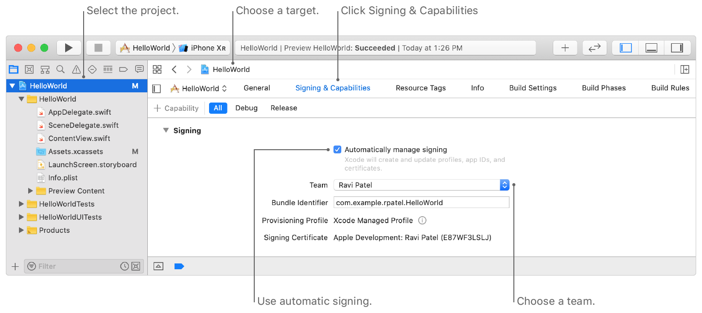 Screenshot showing Signing controls you use to assign the target to a team. The image shows where you select the project, choose a target, click Signing & Capabilities, and choose a team.