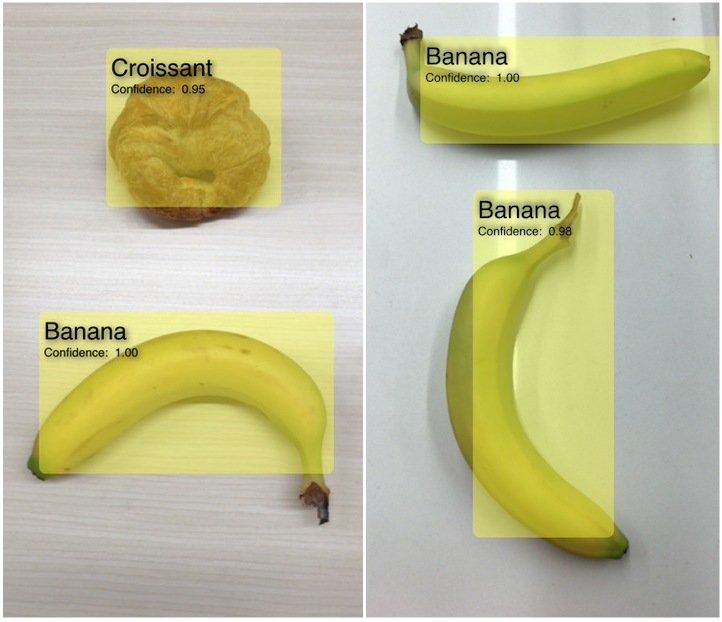 Example screenshots of app identifying a croissant and bananas in live capture.