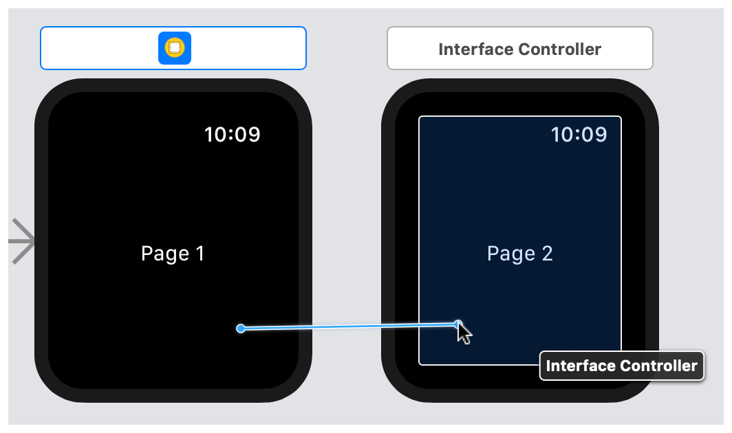 A screenshot showing the control-drag operation between two interface controllers.