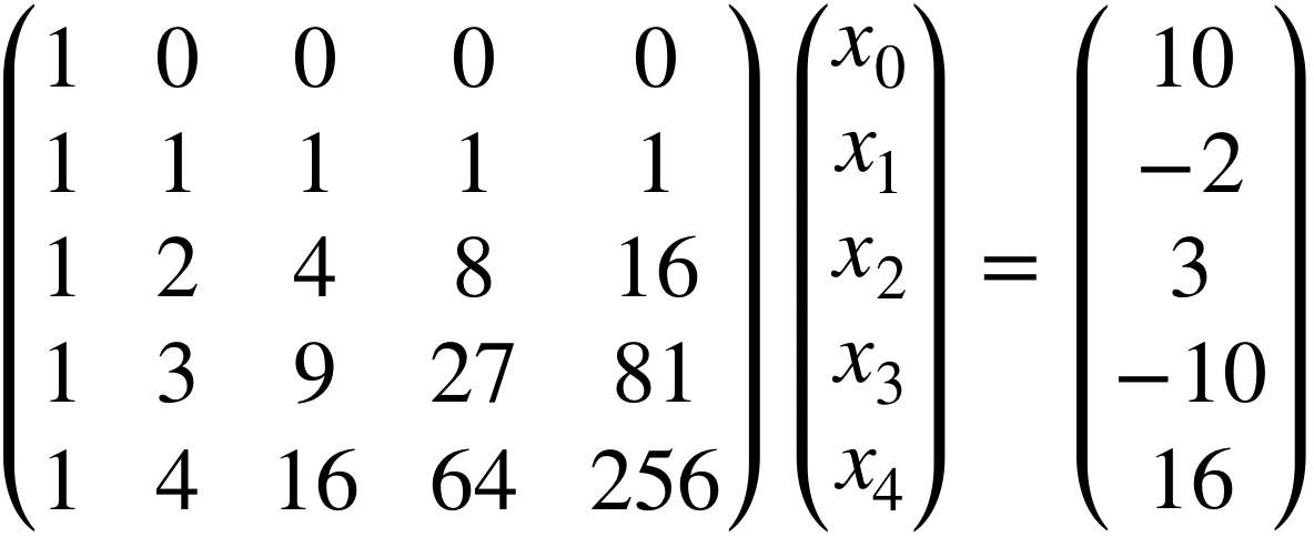 Equation that shows Ax=b.