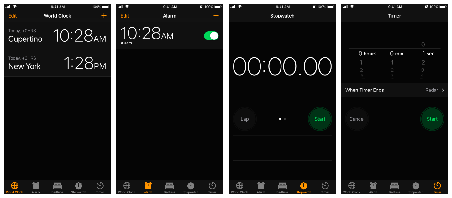 Four screenshots of the Clock app, showing the World Clock, Alarm, Stopwatch, and Timer tabs