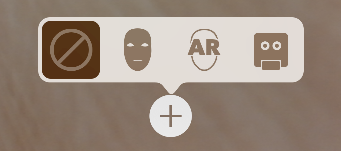 Screenshot of UI for choosing AR face modes