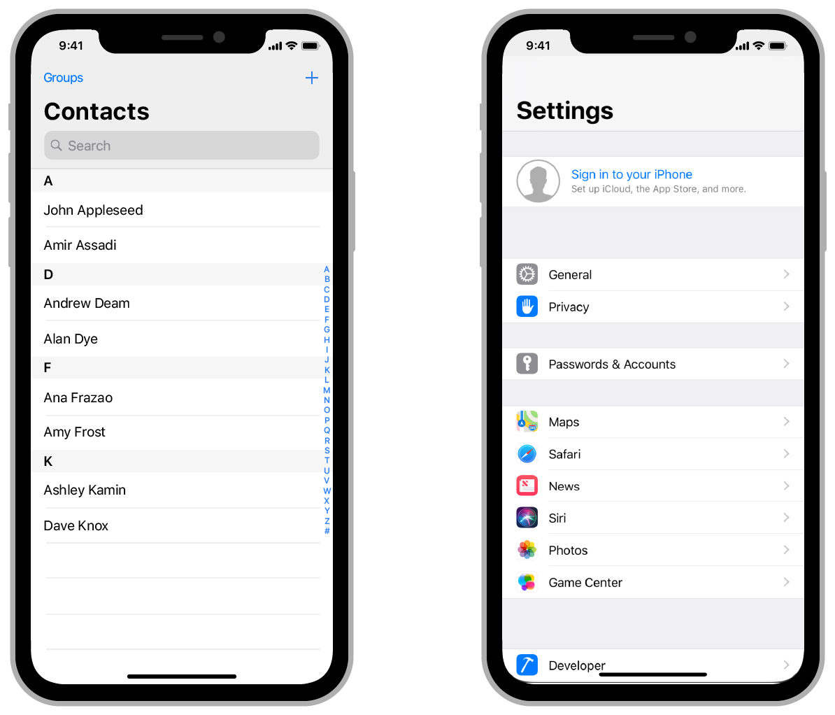 Illustration showing the Contacts app and Settings app. The Contacts app uses a table to organize the user's individual contacts in a scrolling list. The Settings app displays different groups of settings in a scrolling list.