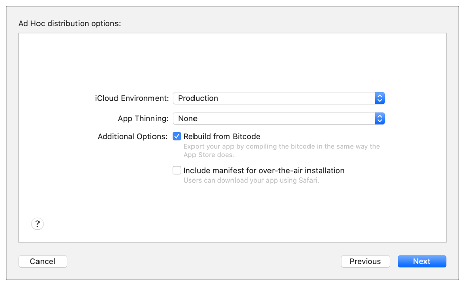 Screenshot of the distribution flow showing the Ad Hoc distribution options with Rebuild from Bitcode selected.