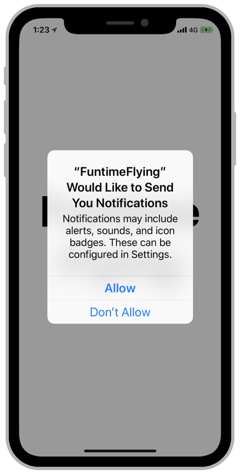 The system is prompting the user to allow or disallow the use of alerts, sounds, and badges when the app sends notifications.