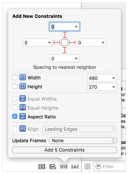 Xcode constraints window with pinning and aspect ratio options added.