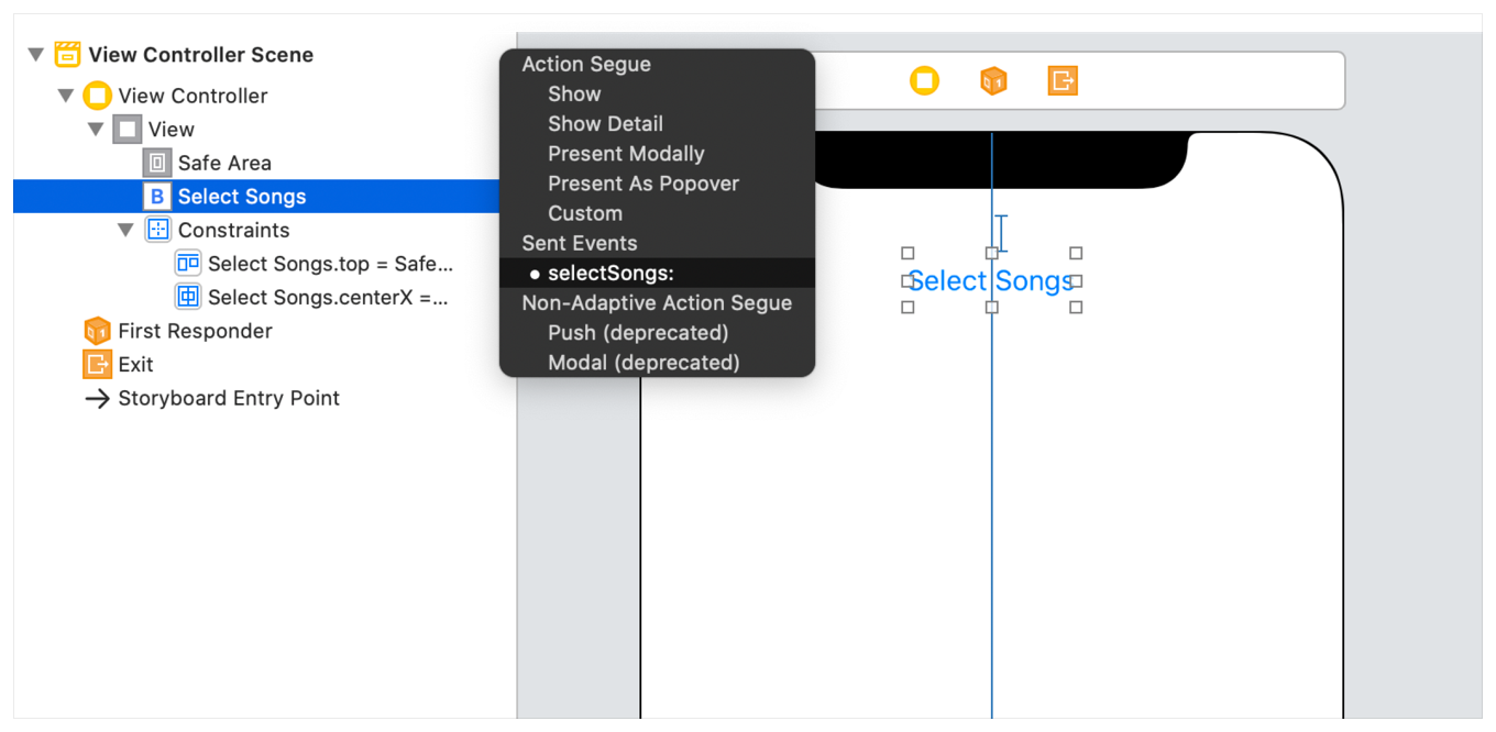 The Xcode Outline View and Canvas displayed side-by-side.
