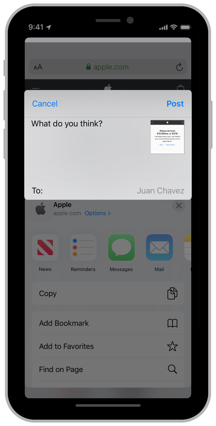 A screenshot of an iPhone with the Safari browser displaying the apple.com homepage. The user tapped the Share button and selected an app from the list of suggestions. The platforms default sharing interface, based on an SLComposeViewController, is visible. Based on the available metadata, the extension has prepopulated the interface with a recipient (Juan Chavez).