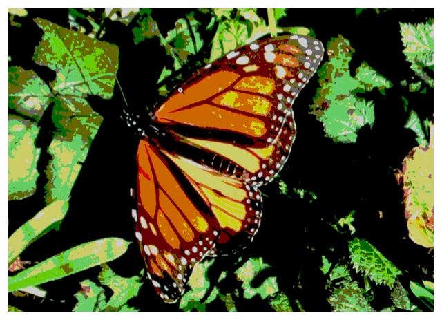 Screenshot of sample code app showing color quantized image.