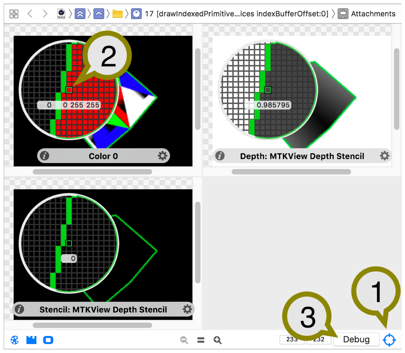 Diagram showing the draws attachments with the Inspect Pixels button enabled. A magnifying glass hovers the attachments to focus on the single fragment you want to debug.