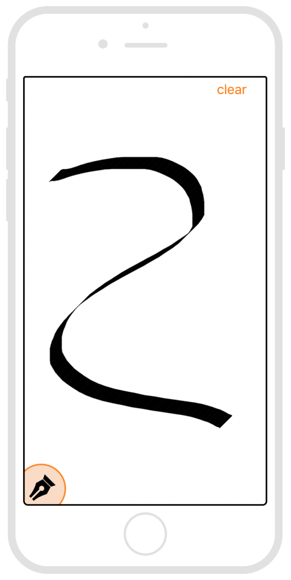 A screenshot from an app which uses a custom gesture recognizer to allow a user to draw on the screen.