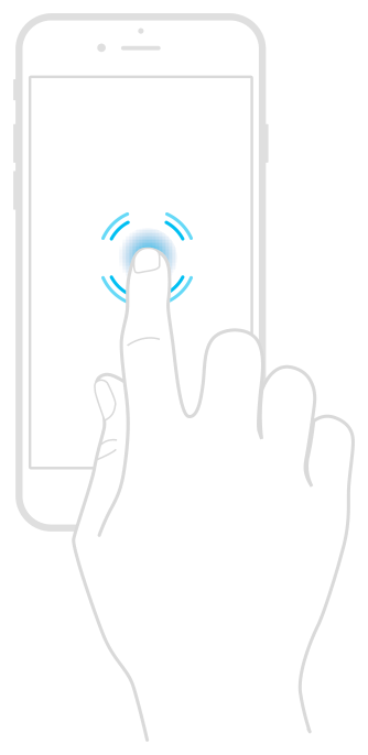 An illustration of how 3D Touch devices can detect touch force. A finger is shown pressing on the display, with rings emanating outward to indicate a force touch.
