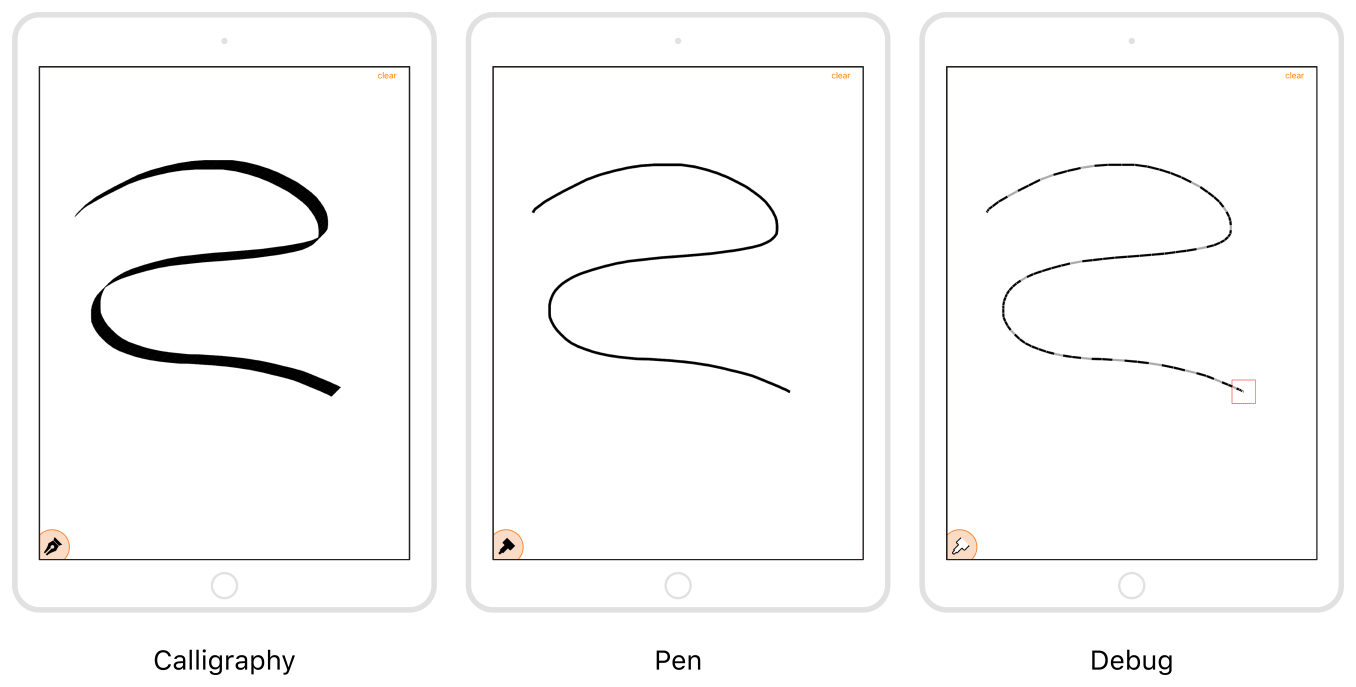 An illustration of the calligraphy, pen, and debug drawing modes in Speed Sketch.