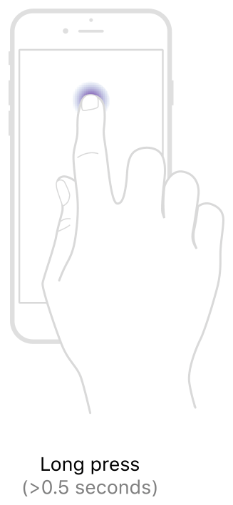 A diagram showing a single-finger long-press gesture