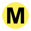The letter M, inside a yellow-filled circle.