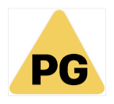 The phrase P G in black, inside a yellow-filled triangle.