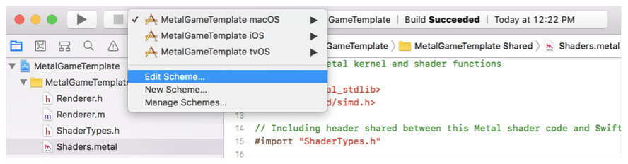 An Xcode screenshot that shows the scheme menu.