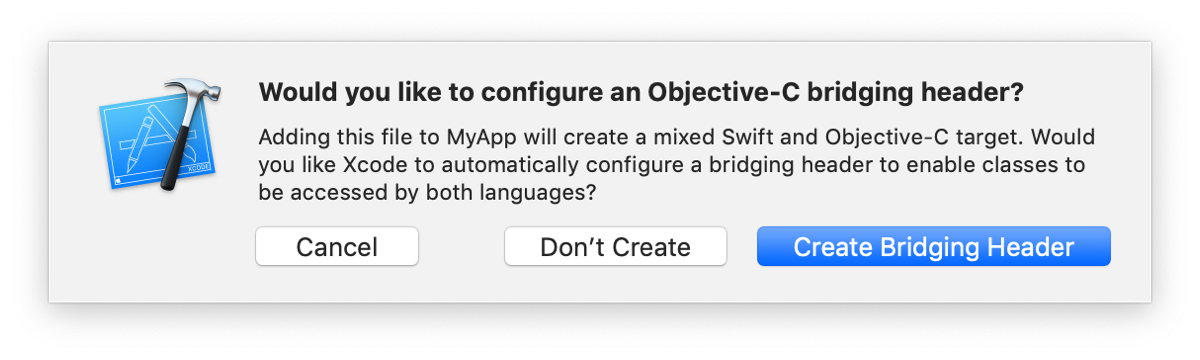 Screenshot of the Xcode prompt to configure an Objective-C bridging header.