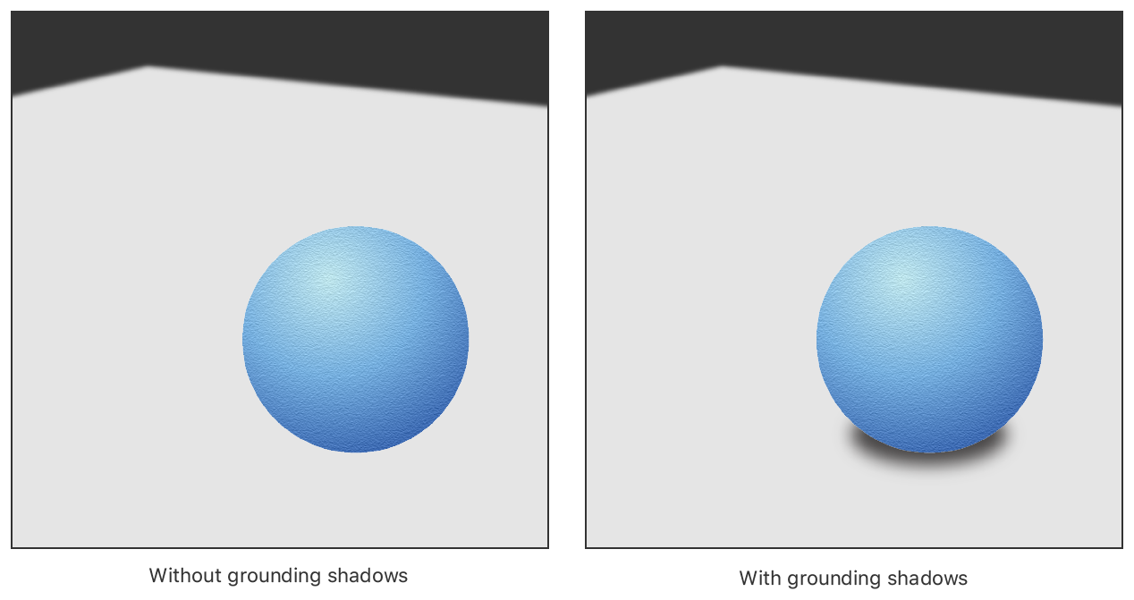 A side-by-side comparison of a virtual object — a three dimensional sphere — in a scene with and without grounding shadows applied to the sphere. Without the shadow, it's difficult to tell where the sphere is in relation to the surface. With the shadow, the sphere appears to rest on the surface.