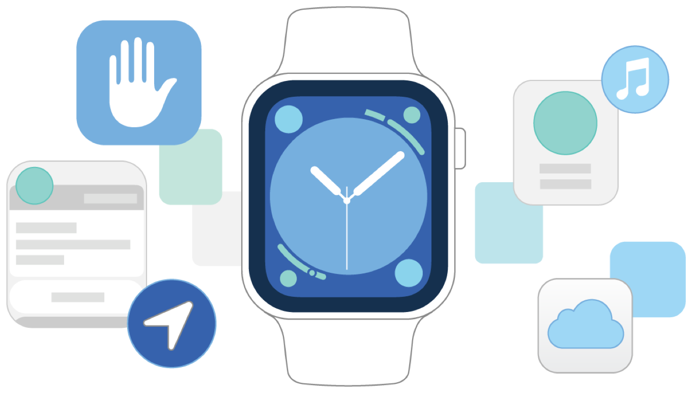 An illustration showing an Apple Watch surrounded by icons representing the features handled by the WatchKit framework, including creating user interfaces, playing background audio, or displaying custom notifications.