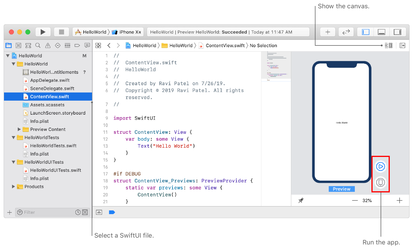 Screenshot showing a SwiftUI file selected in the project navigator and preview displayed in the editor area.