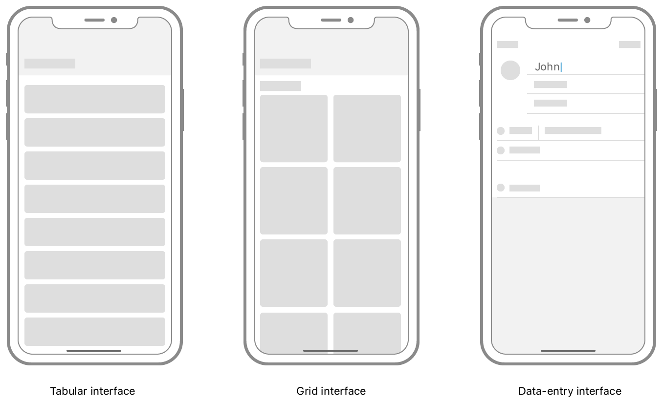 An illustration showing three interfaces. One contains a table, the second contains a grid of cells, and the third contains a data-entry interface.
