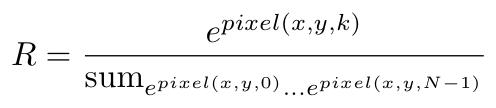 pixel = exp(pixel(x,y,k))/sum(exp(pixel(x,y,0)) ... exp(pixel(x,y,N-1))
