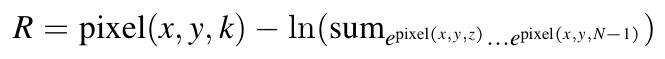 pixel = pixel(x,y,k)) - ln{sum(exp(pixel(x,y,0)) ... exp(pixel(x,y,N-1))}